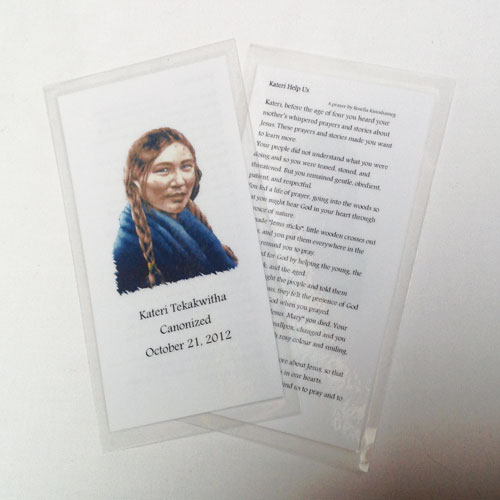 Kateri praying card - Kateri Help Us