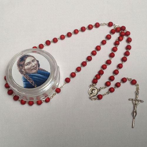 Big Rosary in plastic container with picture of St. Kateri and Pope - Blessed in Rome