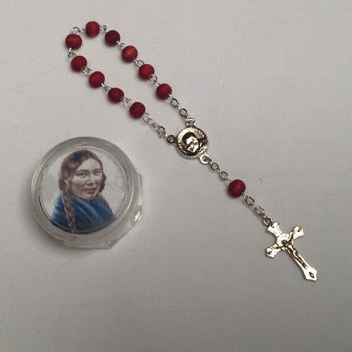 Small Rosary in plastic container with picture of St. Kateri and Pope - Blessed in Rome