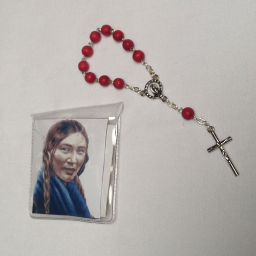Rosary in plastic pouch with picture of St. Kateri and Pope - Blessed in Rome
