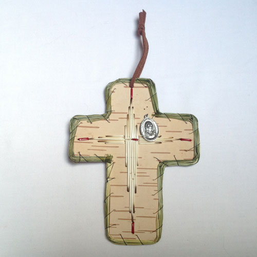 Sweetgrass cross with porqupine quill and St. Kateri medallion