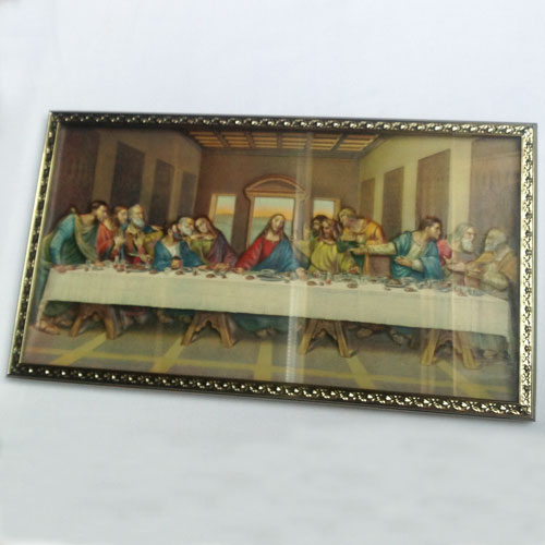 3D image of Last Supper in gilded frame